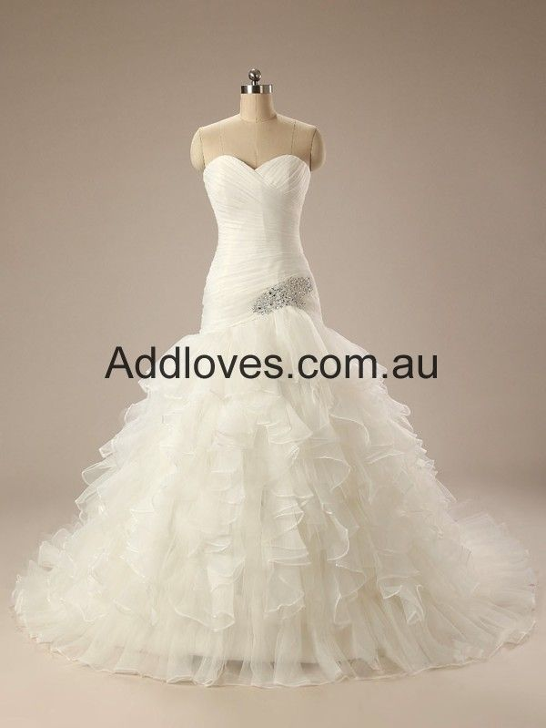 Mermaid White Sweetheart Organza Wedding Dresses