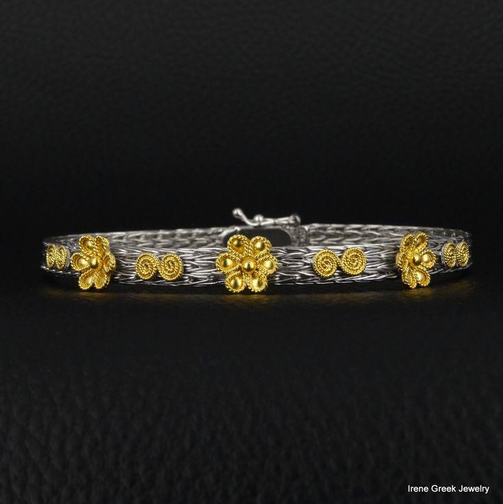 Byzantine Bracelet 925 Sterling Silver 22K Gold Plated Greek Handmade Art Rare Luxury