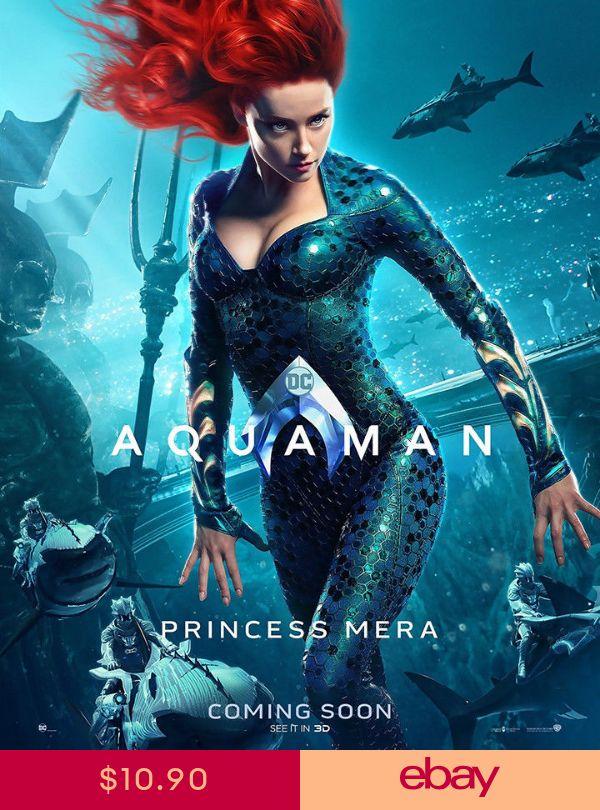 """Aquaman Art Poster 40x30/"""" 32x24/"""" 2018 Amber Heard Mera Movie Film Print Silk"""