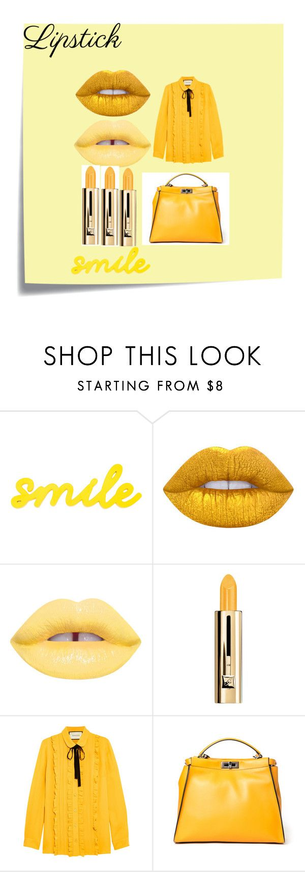 """""""WWW-LIPSTICK"""" by www-whatwomenwan1 on Polyvore featuring beauty, Post-It, Lime Crime, Guerlain, Gucci and Fendi"""