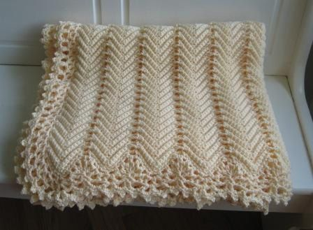 Victorian Ripple Afghan Cream Color With Pretty Lace