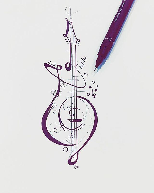 Desenho desenvolvido para tatuagem do Toni nosso cliente de JP, guitarra…                                                                                                                                                                                 Más