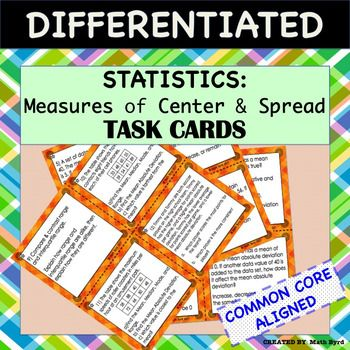 Complete lesson! Differentiated Task Cards also includes: Differentiated Cornell Notes, Power Point (to go with the notes), and  Practice Worksheet. Task Cards test students skills of calculating statistics, as well as probing for conceptual understanding.Skills: Students will learn mean, median, mode, range, interquartile range, mean absolute deviation, and outlier.