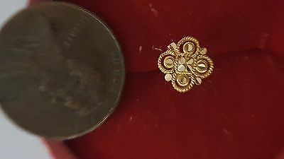 Other Wholesale Body Jewelry 51011: 22K Solid Yellow Real Gold Nose Pin 4 Petals Pattern Set G8 Measurement #F7oau -> BUY IT NOW ONLY: $39.99 on eBay!