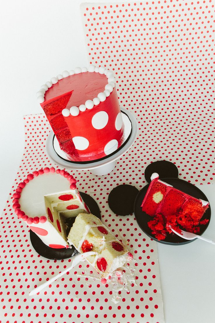 ... of the cake too. Every day is National Polka Dot Day for Minnie Mouse