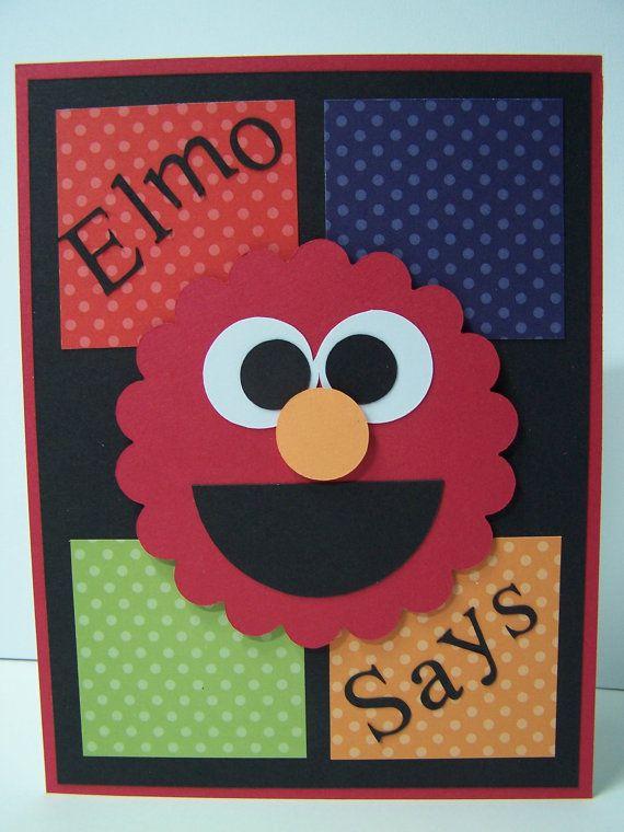 Handmade Greeting Card Sesame Street Elmo Birthday Toddler First 1st 2nd