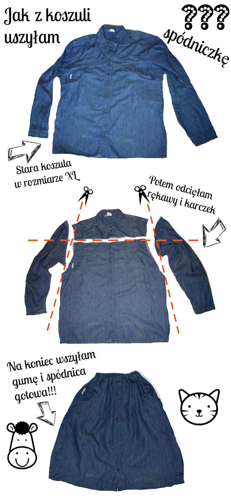 Recykling ubrań, Koszula, DIY, Spódniczka, jak przerobić koszulę, spódniczka z koszuli, Dalwi szyje, szyciowe blogi, szycie Dalwi, koszula z haftem, haft