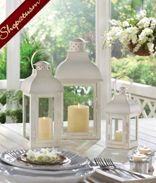 Centerpieces candle lanterns large white gable garden