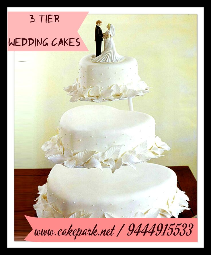 #Wedding_Cakes: The most creative wedding cake designs for a sweet and unique dessert table come your big day. #CakePark makes unique #customized theme #weddingcakes.  Place your orders online or call us to for order: http://www.cakepark.net/3-tier-heart-shape-cake-with-stand-cp114.html #cakesonline #chennai