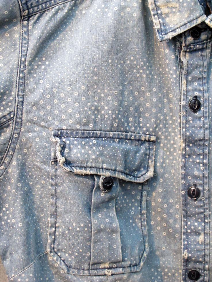 Droplets print   Faded denim   Indigo blue   Pale   Work shirt