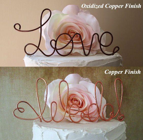 LOVE Cake Topper Vintage Wedding Shabby Chic Wedding by AntoArts