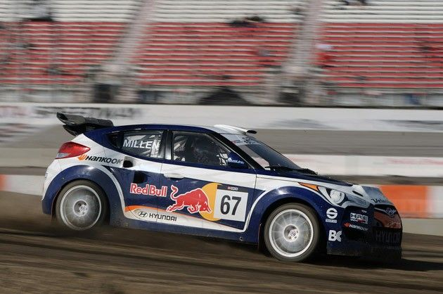 Hyundai Veloster rally car driven by Rhys Millen at the Global Rally Championship.