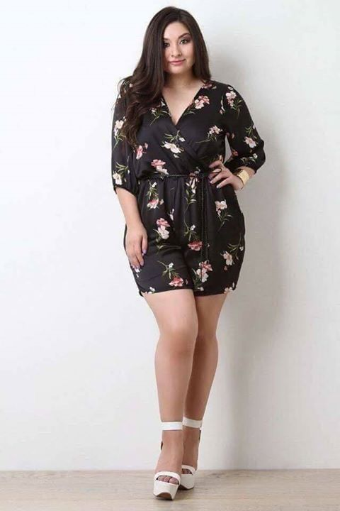 8801cf49b09 P370 U.s floral plus size jumpshort belt included spandex one color fit L  to xL (One Size) Good Quality