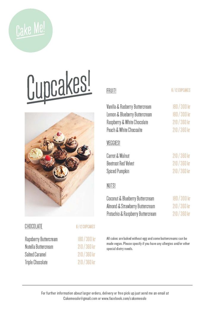 My new cupcake menu with a few alterations. By Cake Me! Oslo  www.facebook.com/cakemeoslo
