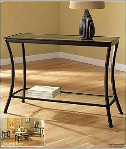 Mendocino black console table stylish bronze metal