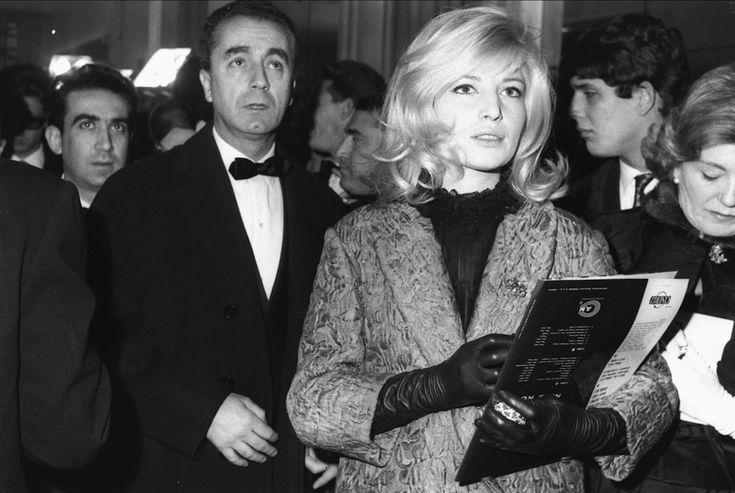 Michelangelo Antonioni and Monica Vitti (premiere of Federico Fellini's 8½).