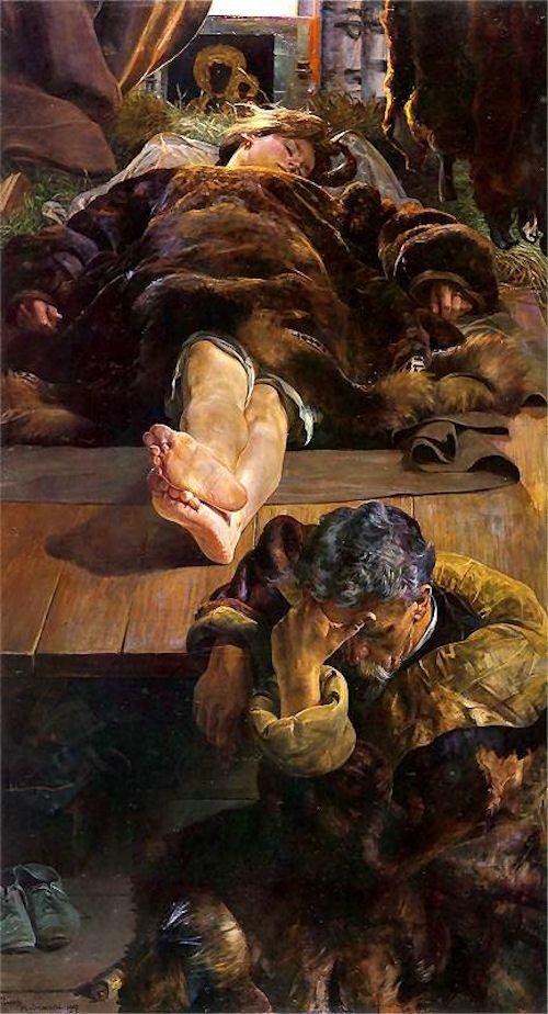 Śmierć Ellenai, (Death Ellenai) by Jacek Malczewski, 1907