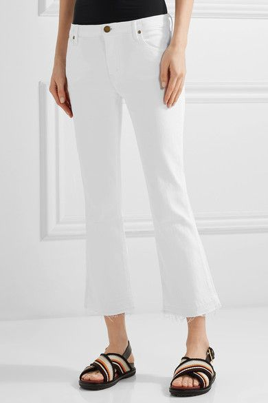 The Great - The Nerd Cropped Frayed Low-rise Flared Jeans - White - 30