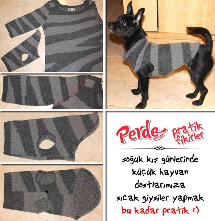 Bu soğuk kış günlerinde, küçük hayvan dostlarımıza eskiyen kazaklarınızdan sıcacık giysiler yapmak bu kadar pratik :) Fikirlerimiz kadar pratik perdelerimizi de görmek için lütfen web sitemizi ziyaret edin.  www.pedemania.com.tr  #pratikfikirler #pratik #fikir #diy #kendinyap