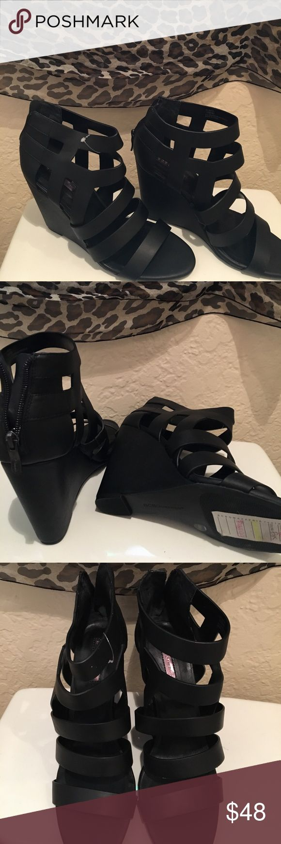 Blk ladies wedge sandals BCBG, new w/tag Beautiful blk leather, strappy sandals, wedge style. Slide in and zipper back closer. Brand new, never worn; received as a gift, wrong size 😩 BCBG Generation 👡 BCBGeneration Shoes Sandals