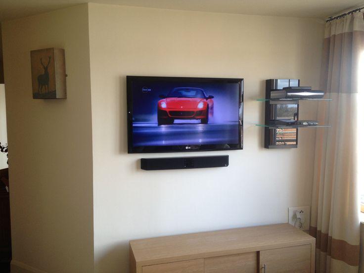 Flat Screen Tv Installation With Soundbar And Floating Av