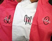 Monogrammed Bridesmaid Shirts. Set of 5, Personalized Bridesmaid Gift by ELRILEYGIFTS on Etsy https://www.etsy.com/listing/152463603/monogrammed-bridesmaid-shirts-set-of-5