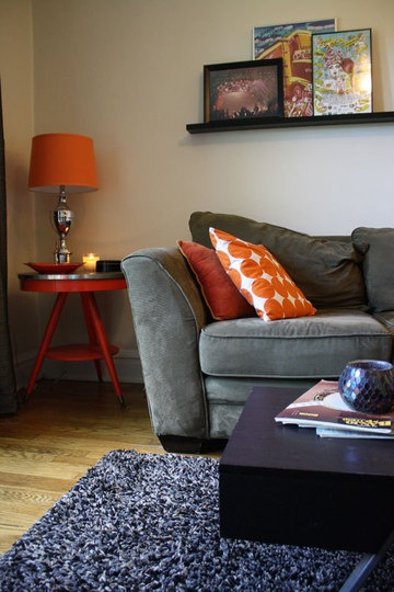 30 best images about orange and grey on pinterest living for Grey orange living room