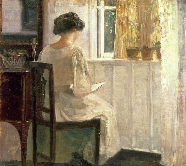 """Carl Holsøe 'Girl Reading in a Sunlit Room'    Carl Vilhelm Holsøe [Danish artist, 1863-1935].  Holsøe and the brothers-in-law Peter Vilhelm Ilsted and Vilhelm  Hammershøi were leading artists in early 20th century Denmark. All  three artists were members of 'The Free Exhibition', a progressive art  society created around 1890. They are famous for painting images of  """"Sunshine and Silent Rooms"""", all in subtle colors. Their  works reflects the orderliness of a tranquil life."""