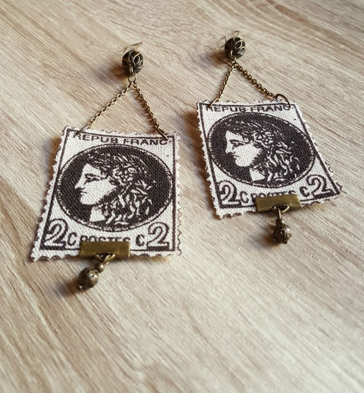 Sending My Love - Lightweight Burlap Postage Stamp Jewelry - Earrings w/ Brass Color Beads & Chain; Perfect 13th Anniversary Gift (Textiles) by Katieclectic on Etsy