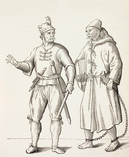 16Th Century Galley Solder With A Galley Slave. From Military And Religious Life In The Middle Ages By Paul Lacroix Published London Circa 1880. Poster Print (13 x 16)