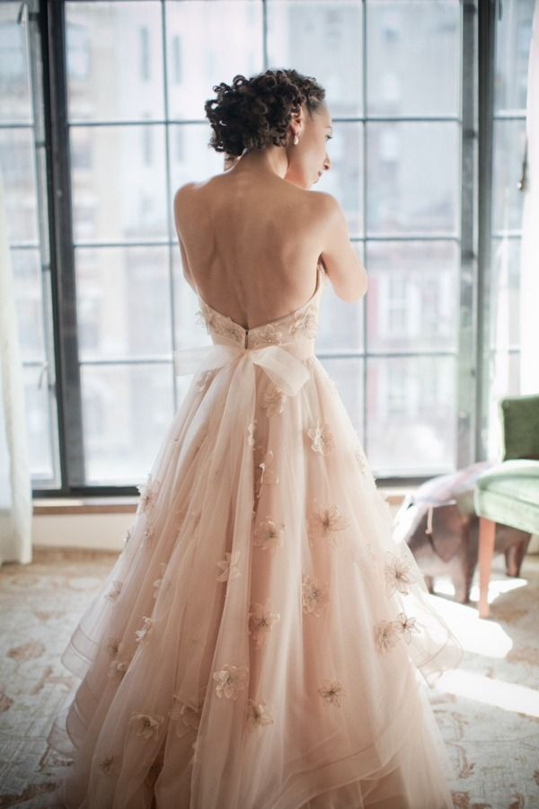 Blush pink wedding dress #wedding #dress #inspiration #details #blushpink