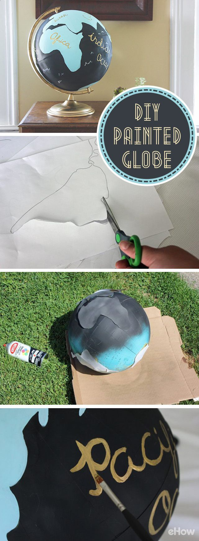 In LOVE with this upcycle decor piece! Transform an ordinary globe into a breathtaking piece of artwork in just a few easy steps. Inspired by Anthropologie's Handpainted Wanderlust Globe, this DIY painted globe offers an affordable alternative to add worldly elegance to your home. http://www.ehow.com/how_12341081_diy-painted-globe-with-templates.html?utm_source=pinterest.com&utm_medium=referral&utm_content=freestyle&utm_campaign=fanpage