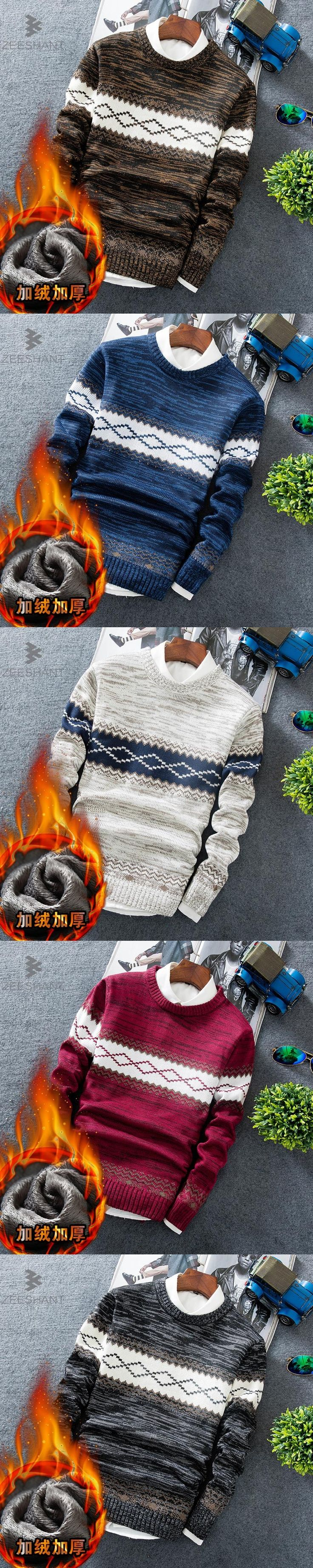 Zeeshant New Fashion Winter Pullover Men Knitted Slim Sweater Christmas Jumper Mens Casual O-neck Sweaters in Men's Sweaters XXL