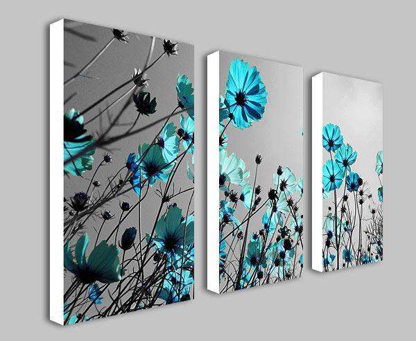 Teal Flowers Floral Spli...