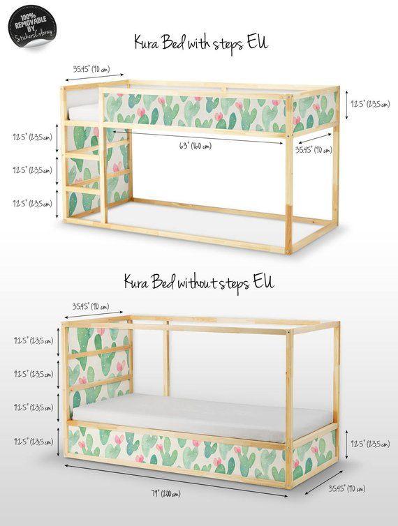 Kinder Slaapkamer Set.Decals Voor Kura Bed Ikea Cactus Aquarel Sticker Set
