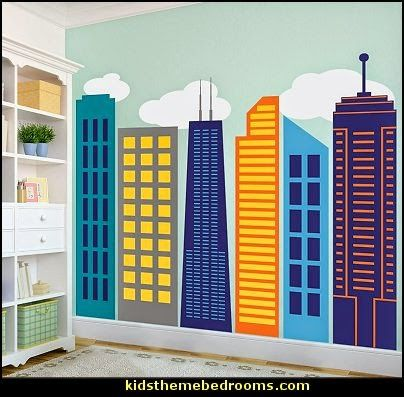 City Skyline wall decals  Superheroes bedroom ideas - batman - spiderman - superman decor - Captain America - comic book bedding - batmobile bed - Wonder Woman Girls superhero - marvel wall art Avengers - superman bedding - primary color bedroom ideas - spiderman room decor - decorating with comics -