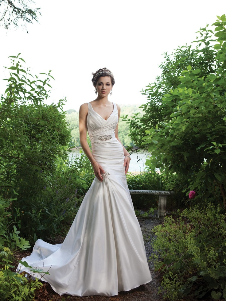 Trumpet / mermaid sleeveless taffeta floor-length bridal gown $394.95