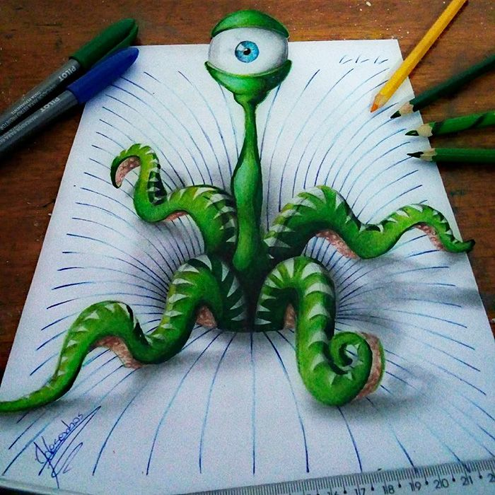Brazilian artist João Carvalho, a.k.a. J Desenhos, is back with more awesome 3D Notebook drawings. Previously featured on Bored Panda, the 16-year-old continues to surprise us with his incredible skill to create fun visual distortions, which seem nowhere near two-dimensional.