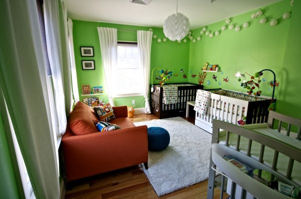 """Bright Green Twin Boys Nursery, Bright, fun, """"not your typical"""" nursery for twin boys with adjacent walk-in closet, View from the closet  , Nurseries Design"""
