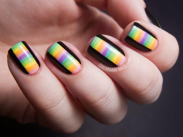: Limes Crime, Nails Art, Chalkboardnail, Chalkboards Nails, Nailart, Black Nails, Nails Ideas, Stripes Nails, Rainbows Nails