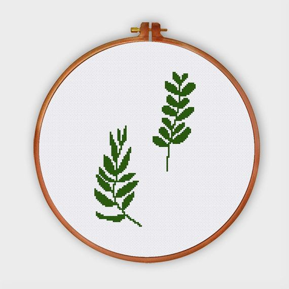 2 Green Leaves cross stitch pattern modern cross by ThuHaDesign