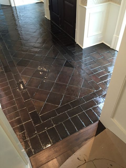 Before And After Staining Saltillo Tile Tile Floor Diy