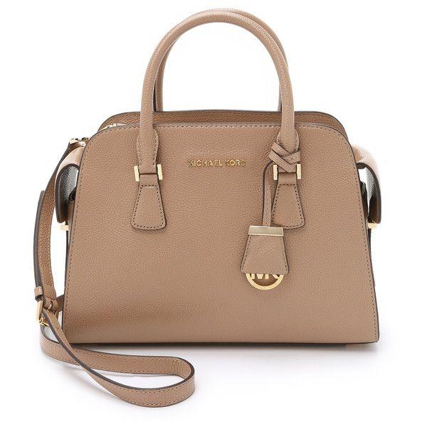 MICHAEL Michael Kors Harper Medium Satchel (1,170 PEN) ❤ liked on Polyvore featuring bags, handbags, dark khaki, leather satchel purse, leather satchel handbags, pocket purse, multi pocket purse и beige handbags