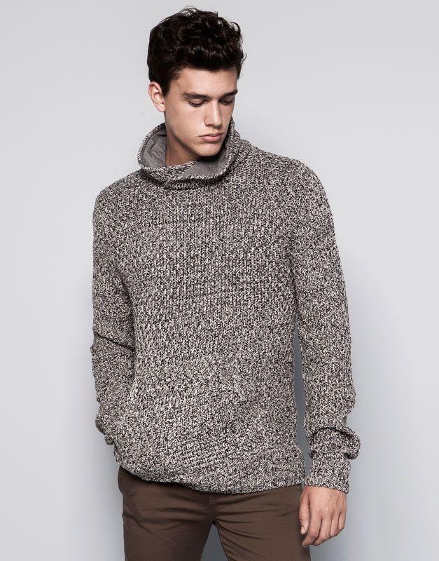 Pull&Bear - dla niego - swetry - sweter z kieszenią typu kangur i kołnierzem szalowym - ciemnopop. - 09556516-I2014