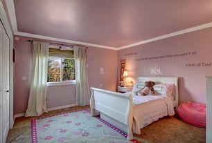 Traditional Kids Bedroom with Mural, Carpet, Built-in bookshelf, Crown molding