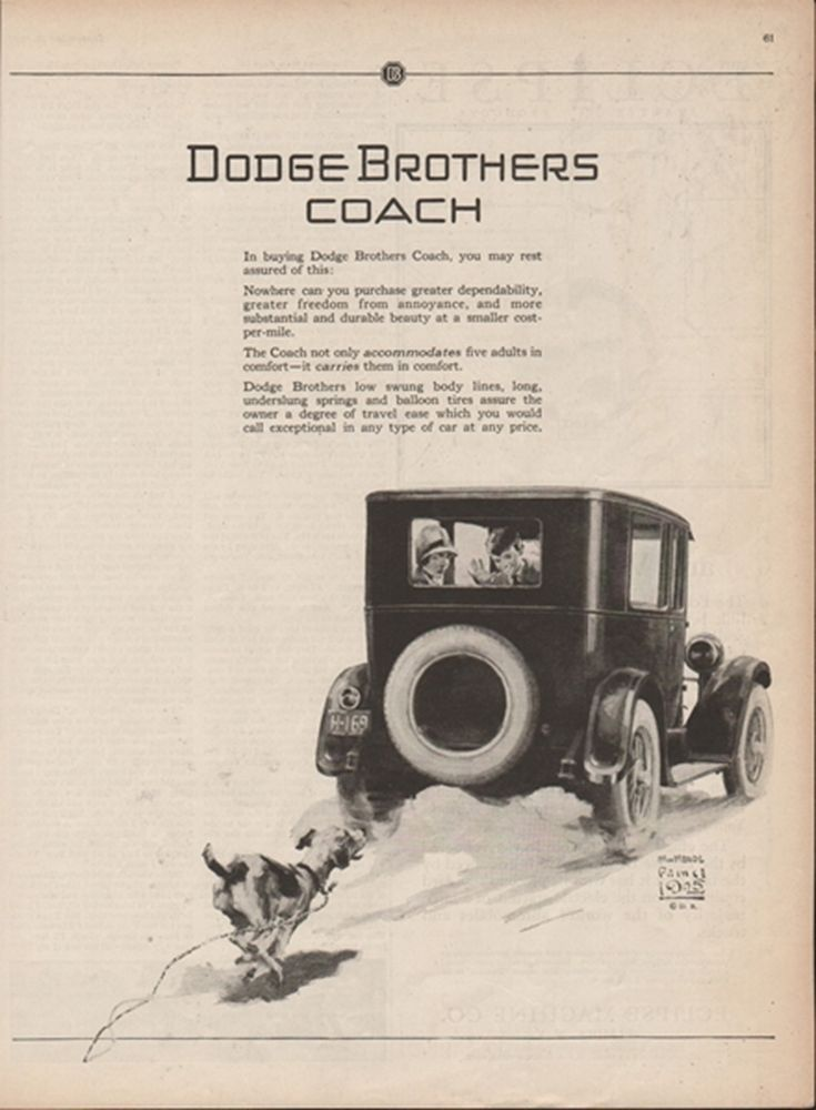 1925 Dodge Brothers Coach Dog Chasing Car William Meade