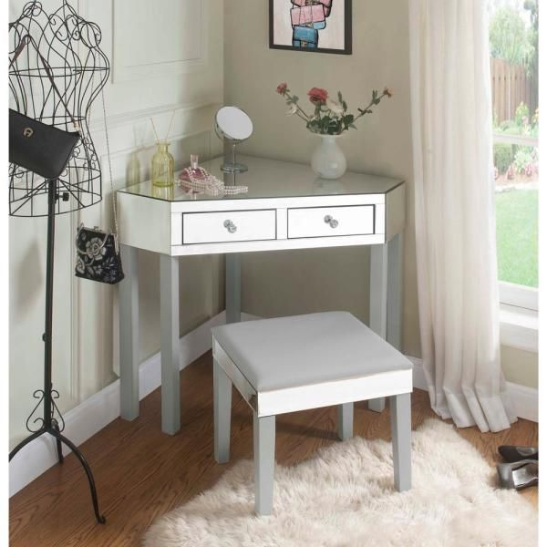 Pin By Tamara Ezzeddine On Home Decor In 2020 Corner Vanity White Vanity Table Corner Vanity Table