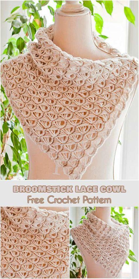Padrão de crochê de vassoura Lace capuz livre
