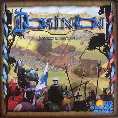 Dominion- A deck builder game. A free online version can be played at: https://www.playdominion.com/Dominion/gameClient.html