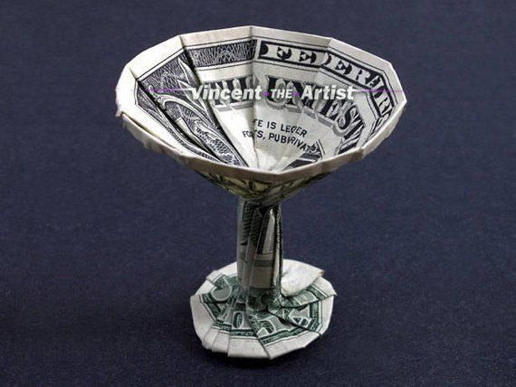 MARTINI GLASS Dollar Origami Cup – Unique Money Gift 4 Bartender Waiter Restaurant Owner – Bird bath